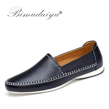 Causal Shoes Men Genuine Leather Moccasins Driving Shoes Handmade High Quality Simple Design Flats Shoes