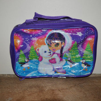 Vintage 90s Lisa Frank Tote Sparkly Clear 90s Lisa Frank Eskimo Girl with Polar Bear Winter Scene Lisa Frank Collectible