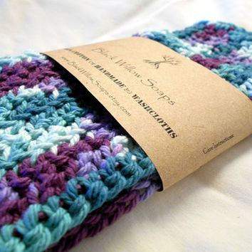 Washcloth, Handmade Crochet Washcloth, Cotton Washcloth Set, Stocking Stuffer, Housewarming Gift, Regeancy