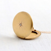 Antique Star Etched Genuine Diamond Locket Necklace- 1/4 Gold Shell 1910s 1920s Early 1900s W&H Co. Jewelry