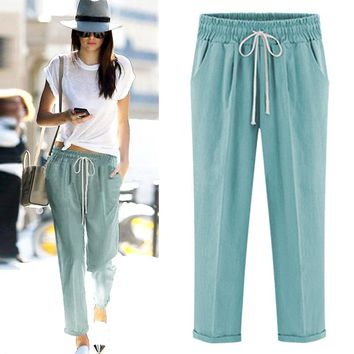 Plus Size M-6XL  summer women's casual pants capris fashion cotton crops pants elastic waist Harm Pants For women trousers