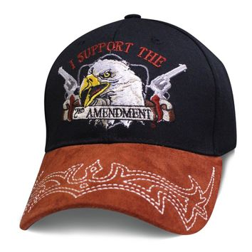 Mens 2nd Amendment Hat I SUPPORT THE 2ND AMENDMENT Eagle with Guns Cap