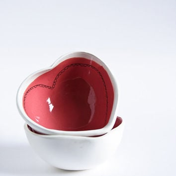 red heart bowl ceramic trinket dish ring catcher snack by karoArt