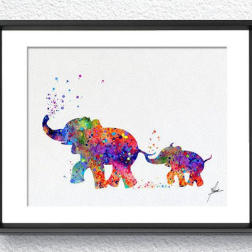 Elephant Family Art Print Watercolor Painting Wedding Gift idea Wall Art Giclee Wall Decor Art Home Decor Wall Hanging Nursery Item 356