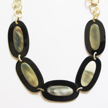 Bib necklace, bubble necklace, long chain necklace, black, natural organic horn, hand carved jewelry, fashion