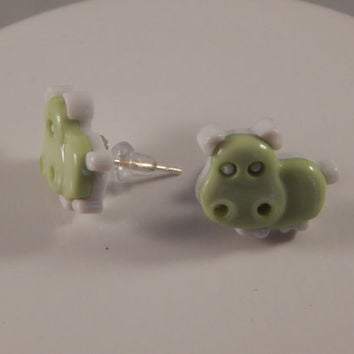 little green hippo stud earrings - repurposed buttons - zoo theme party accessory - toddler jewelry, gift under 5 - back to school posts