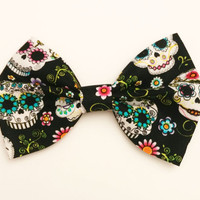 Sugar Skull Bow • Dia De Los Muertos •Halloween Hair Bow • Skull HairBow • Spooky Bow • Day Of the Dead •Halloween Costume • Cotton Hair Bow