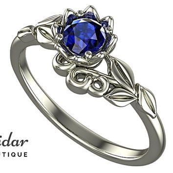 Flower Engagement Ring,Unique Engagement Ring,Solitaire Engagement Ring,Leaves,Blue Sapphire,Lotus,Floral,Swirl,White Gold Ring