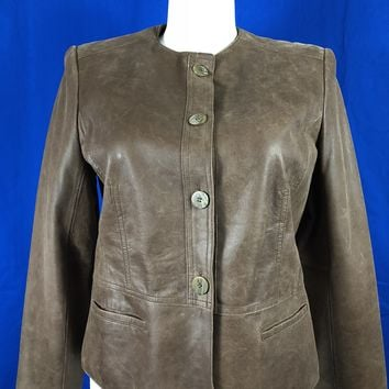 Jones New York Collection Brown Leather Jacket XL