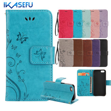 IKASEFU Embossed Butterflies Stand Wallet Leather Case for iPhone 7 7 Plus 6S 6 Plus 5SE 5S 5 4S 4 iPod Touch 5 6 Flip Covers