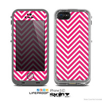 The White & Pink Sharp Chevron Pattern Skin for the Apple iPhone 5c LifeProof Case
