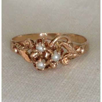 A Vintage Wedding Flower Girl Ring of Ornate Seed Pearls in 9kt Yellow Gold - Margaret