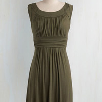 Mid-length Sleeveless A-line I Love Your Dress in Olive