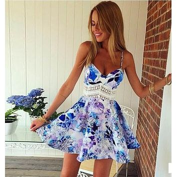 Women Summer Dress Sexy Casual V-Neck Sleeveless Lace Dress Spaghetti Strap Print Dress Hollow Out