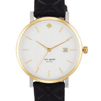Kate Spade New York Ladies Metro Grand Gold Plated and Leather Watch