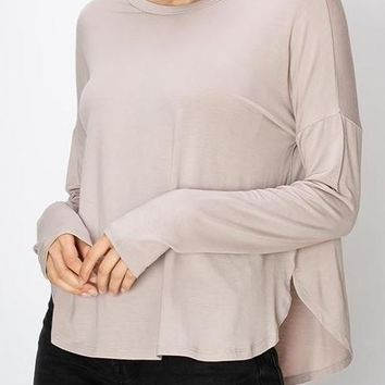 Lena Modal Long Sleeve Tee in Mauve