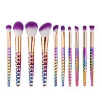 GHJHUI 10pcs Beauty Multicolor Contour Brush Foundation Cream Make Up Brush Set Kosmetika Pinceau#A11