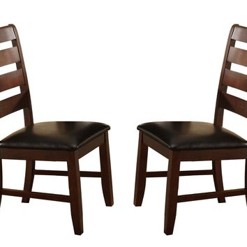 Wooden Dining Chair With Ladder Back Design Set of 2 - Dark Brown
