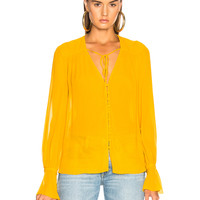 NICHOLAS Button Front Top in Ochre | FWRD