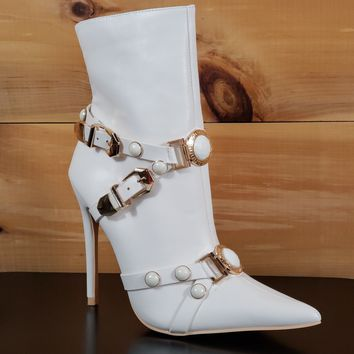 "Mac J White Pointy Toe Gold Buckle Harness Strap Ankle Boot - 5"" High Heel"