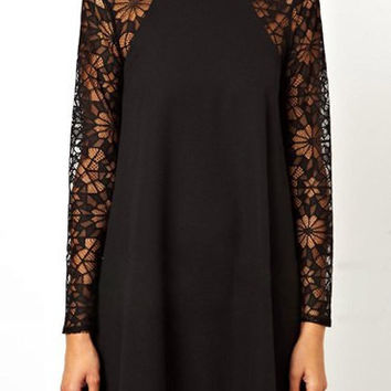 Lace Long Sleeve Shift Dress