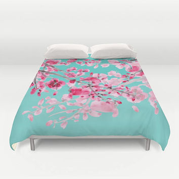 Cherry Blossom on Bright Teal Duvet Cover or Comforter, Pink and teal duvet or comforter, feminine spring, bright,  beautiful, bedroom decor
