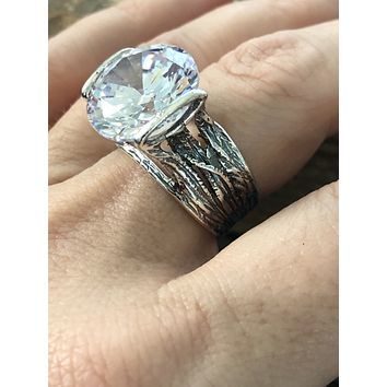 A Flawless Handmade 6CT Round Cut Lab Diamond Engagement Ring