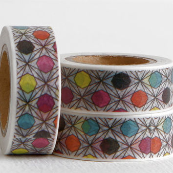Prism Style Washi Tape, Geometric Pattern on Crisscross Black and White Background
