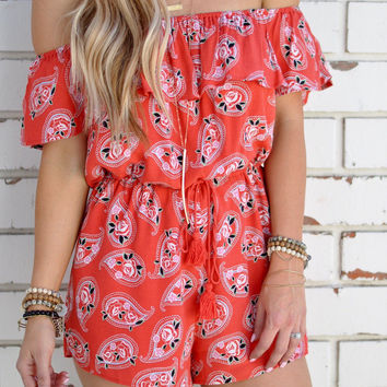 Orange Off Shoulder Paisley Print Romper