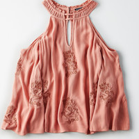 AE Embroidered Cold Shoulder Top, Pink
