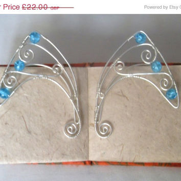 ON SALE Silver Plated Handmade Wire Wrapped Surreal Butterfly Elf Ear Cuffs With Cyan Blue Crackle Quartz, Wire Weave, Spiral, Elven Ears,