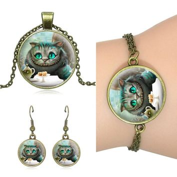 XUSHUI XJ Alice in Wonderland women jewelry set Cheshire Cat Glass Dome Pendant Bronze Necklace Stud Earrings Bracelets Set