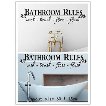 Vinyl Casual Home Rules` Wall Art Classical Art Quote Supplies `Bathroom Stickers Decals