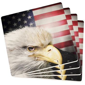 4th of July American Bald Eagle Eye Flag Set of 4 Square Sandstone Coasters