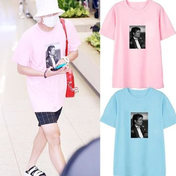 Michael Jackson Photo Tee Box logo Tee Rock N Roll Skateboard T-shirt Men Women Cotton Casual TShirt