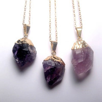 Amethyst Necklace - Raw Amethyst Gold Necklace - Amethyst Point Necklace - Quartz Necklace - Rough Amethyst Quartz