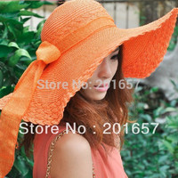 Fashion Women Wide Large Brim Floppy Summer Beach Sun Straw Hat Cap with big bow