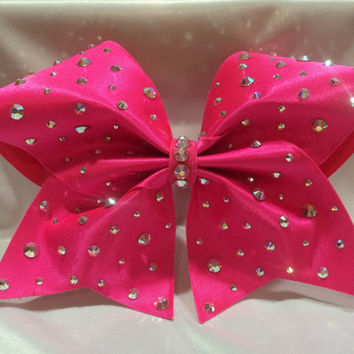 Barbie Cheer Bow Pink Fabric and Swarovkski AB Crystals