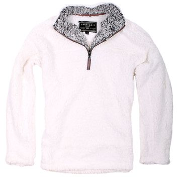 The Original Frosty Tipped Pile 1/2 Zip Pullover in Ivory by True Grit