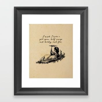 Wuthering Heights - I wish I were a girl again. Framed Art Print by 5pennystudio