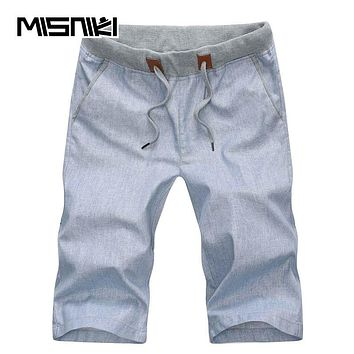 Summer New Men Shorts Casual Bermuda Linen Slim Fit Solid Beach Male Shorts