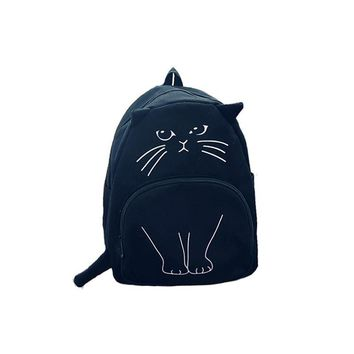 2016 Japanese Lovely cartoon Cat Backpack For Women Backpack Casual Canvas Girl School Bag Kawaii Backpack travel rucksack