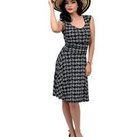 Black & White Cap Sleeve Bicycle Fit & Flare Dress