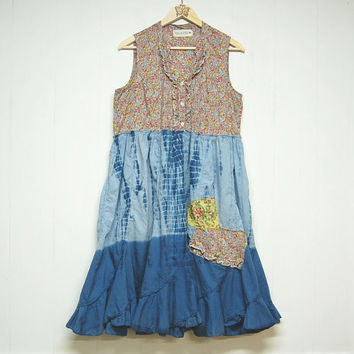 Large Boho Chic Dress, Light Weight Ruffly Sleeveless Pretty Summer Dress, Romanitic Upcycled Clothing Free People Inspired