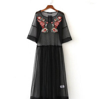 Bohemian Transparent Colored Flower Embroidery Mesh Dress 2017  Woman O neck Half Sleeve Long Dresses Femme Black color