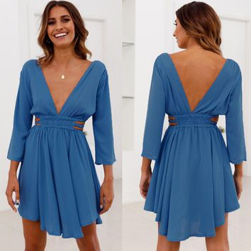 New Women Summer Sexy V Neck Holdiay V Back Ladies Short Mini Dress Hollow Out Three Quarter Sleeve Swing Irregular