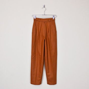 Vintage 80s 90s Caramel Brown High Waist Pant Waist Skinny Pant Skinny Leg Pleat Pant Trouser Dress Pant Preppy Blogger Women XS Extra Small