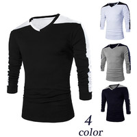 Color Contrast V Neck Long Sleeve Tee