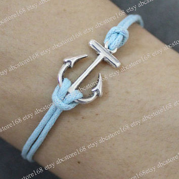 Vintage Bracelet-Anchor Bracelet-Adjustable Blue Rope Bracelet