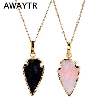 AWAYTR Trendy Natural Crystal Rhinestones Pendant Necklace Vintage Gold Arrowhead Layer Necklace for Women Party Gift Choker